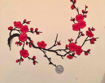 B/Plum Blossom / Wintersweets/ iron on/ sew on/ embroidery patch/ red/ black