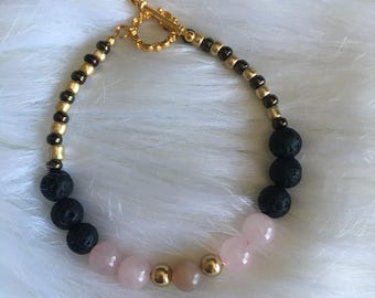 Fertility Bracelet with Rose Quartz and Moonstone