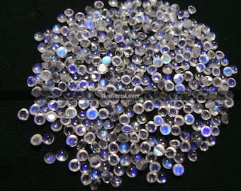 10 pieces 3mm rainbow moonstone cabochon round gemstone blue fire moonstone round cabochon moonstone