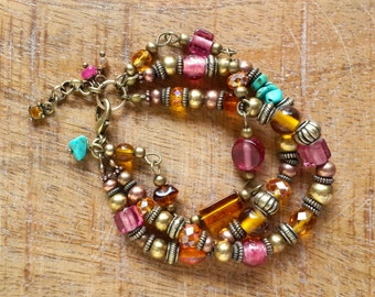 Colourful Multistrand Mixed Metal Bracelet