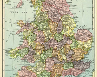 Hammond's Vintage Map of England and Wales 1904
