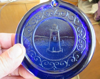 Cape Cod Lighthouse Suncatcher Pressed Glass Ornament