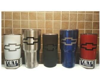 YETI - Authentic CHEVROLET Yeti Cup Mug 20 oz 30 oz Tumbler custom car truck Chevy Silverado 1500 Camaro owner fan gift idea bowtie emblem