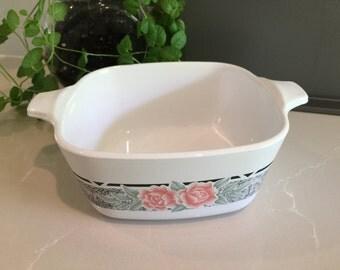 Vintage Corningware 'Silk & Roses' Petite Dish
