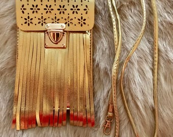 Gold Fringe Phone Bag / Cell Phone Pouch Adjustable Straps / Cross Body Cell Phone Bags / iPhone / Android / Smart Phones