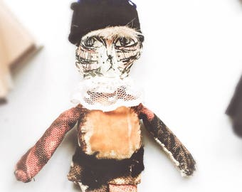 Tiger, Cat, textile art, Handmade tiger, Ragdoll, Gift, Circus-Ragdoll. Tiger-Artdoll. Textile artdoll, keepsake, Personalised gift