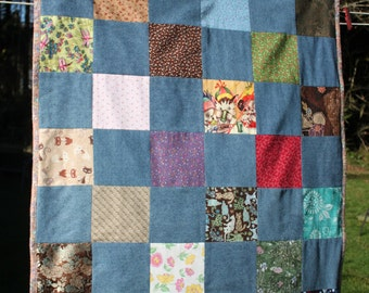 Swaddling Snuggle Baby Blanket/Block Scrap Quilt, one of a kind