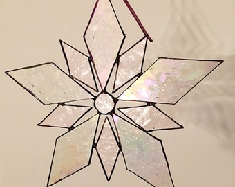 Stained glass suncatcher, iridescent glass,  Eisblume