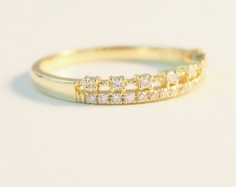 Diamond wedding band Half Eternity band 14K Sliod gold Wedding Ring Thin Dainty stacking ring promise ring Stackable rings Delicate Ring