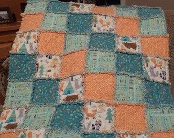 Teal & Peach Flannel Baby Rag Quilt