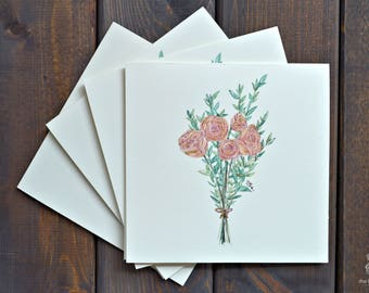 Rose Bouquet   Card Set (of 4) - Hand Painted