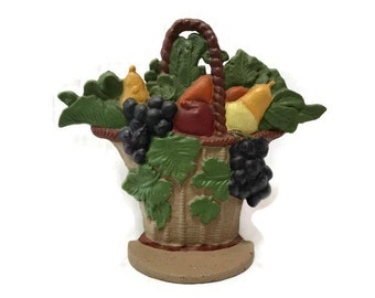 Vintage Cast Iron Doorstop - Fruit Basket Doorstop