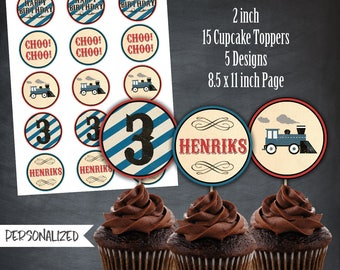 Train Cupcake Toppers, Train Favors, Train Tags, Steam Engine Party, Vintage Party, Trains, Personalized, Printables, Digital, DIY