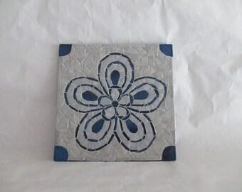 "Below of dish in mosaic ""Blue flower"""
