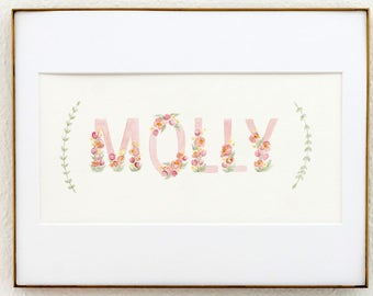 Pink and Green Block Letter Custom Name Watercolor