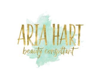 Gold Watercolor Logo / Teal and Gold Logo / Beauty Consultant Logo / Makeup Artist Logo / Photography Logo / Feminine Logo Design Shop