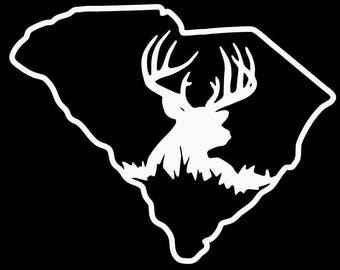 South Carolina buck deer hunting antler decal sticker cooler vinyl
