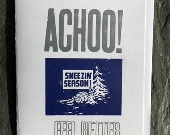 Sneezin' Season Letterpress Greeting Card