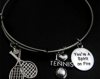 Tennis Bracelet, I love tennis, You're a spirit on fire, tennis player, bangle bracelet, tennis is love