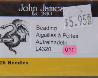 Size 011 Beading Needles, Pack of 25 by John James - TOOL-006