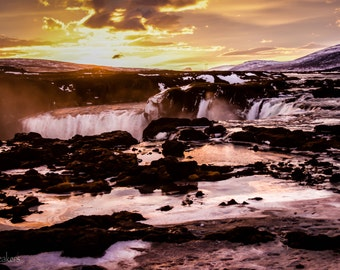 Landscape Photography, Iceland, Colorful Winter Sunrise at Waterfall of the Gods