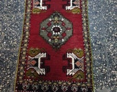 Vintage Small Turkish hand-knotted nomadic decorative area carpet/rug 45x90  CM 18x35  İNCHES  organic wool on wool