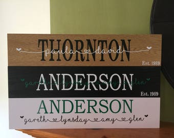 Freestanding Name Plaque - Wedding, engagement or new home gift. In black or beech with various vinyl colour combinations available.