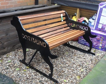 Hand-Crafted Rottweiler (with tail)  Garden Bench - Unique Garden Furniture - Ideal Birthday,Memorial, Anniversary Gift For The Rottie Lover
