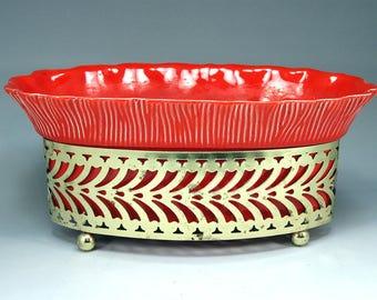 Mid Century Modern, Red Orange Planter, Brass Filigree holder, Calif 1203, 1955 Art Pottery, Mad Men, Retro Planter, Retro Deco, USA, VIntag