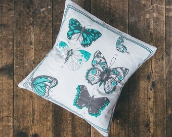 Hand Screen Printed Illustrated Butterfly Natural History Cushion