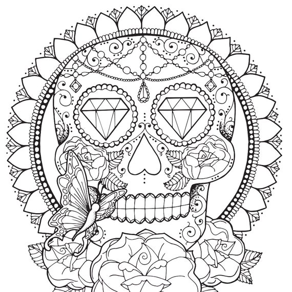 Sugar skull coloring page for adults Tattoo adult coloring