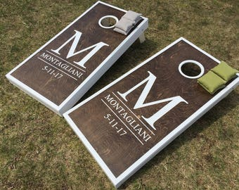 Wedding Cornhole Boards - Wedding Cornhole, Monagrammed Cornhole, Hand Painted Boards, Customized Cornhole, Custom Bag Toss, Marriage Baggo
