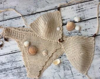 Crochet bikini Cream bikini Triangle bikini Boho swimwear