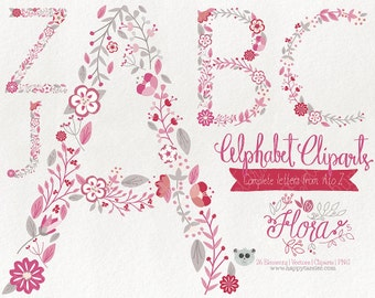 Flowers Clipart Alphabet Clipart Letters Vector Graphics Clip Art PNG Flowers Floral 05 Red Pink Rose Tone