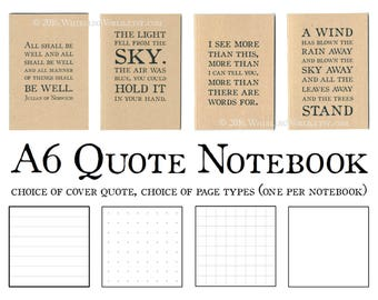 Typography Notebook - Literary Quotation   Recycled Kraft Journal, Eco Friendly Gift for Writer   A6 Stationery for Book Nerd, Notebook Nerd