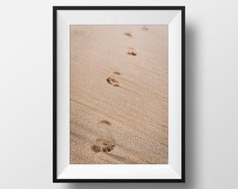 "Beach Photograph Print, Footsteps in the Sand Photo, Maui, Hawaii Wall Art, Summer, Ocean, Beach Photography | ""Footprints"""
