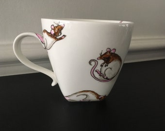 SOLD Rat Mug.  A mug full of Ratty Rogues! A perfect gift for the rat-lovers out there. Design lovingly handpainted in Cornwall by Ysellades