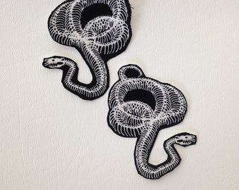 Snake patches patch bones skull animal applique two