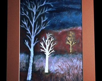 Landscape painting of trees in the Blackdown Hills, Somerset; starry sky; countryside; original artwork; woodcut style