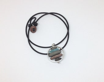 Lake Superior stacked beach stone and sea glass necklace