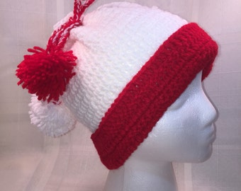 Teen/adult red and white beanie