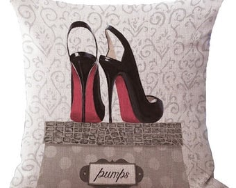 Louboutin Shoes Pillow Cushion Grey Beige Fashion Home Decor Throw Pillowcase Couture  Cushion Covers