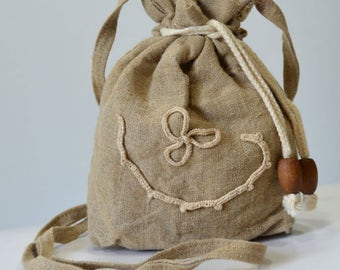 Handmade purse - made of linen with original decoration