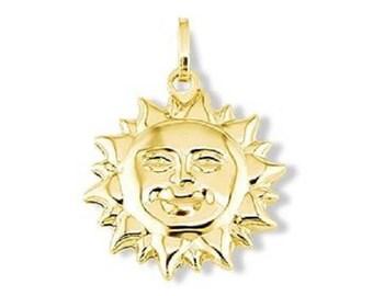14k Italian Yellow Gold Sun Shine Smile Puffy Pendant