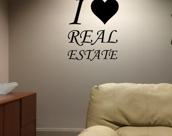 "13"" x 15"" Vinyl Decal ""I love Real Estate"" - Realtor - Broker"