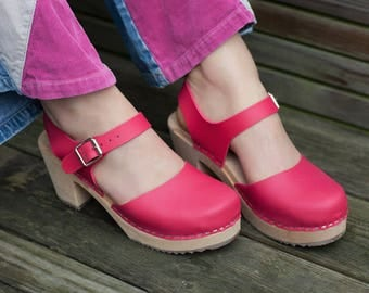 Vegan Shoes Swedish Clogs Highwood Pink by Lotta from Stockholm / Wooden Clogs / Sandals / High Heel / Mary Jane Shoes / Sweden / Mules /