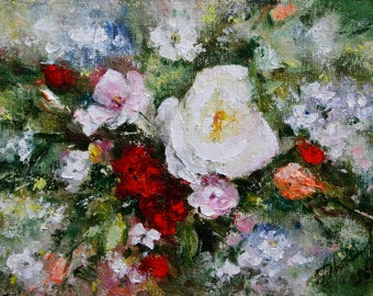 Oil on canvas cardboard Original small flower painting roses, Author of the impressionist Abstract art, Tenderness roses in Provence for her