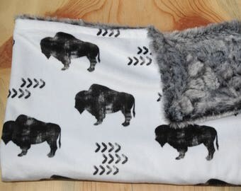 Bison Lovey- Rustic Baby Lovey- Woodland Baby Blanket- Minky Security Blanket- Baby Shower Gift