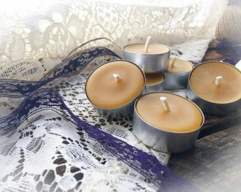Handmade Beeswax Tea Light Candles {set of 8}