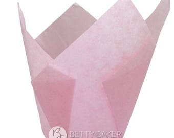Baby Pink Tulip Muffin Wraps - Great Alternative to Cupcake Cases - Birthday - Baby Shower - Christening. Pack of 24.